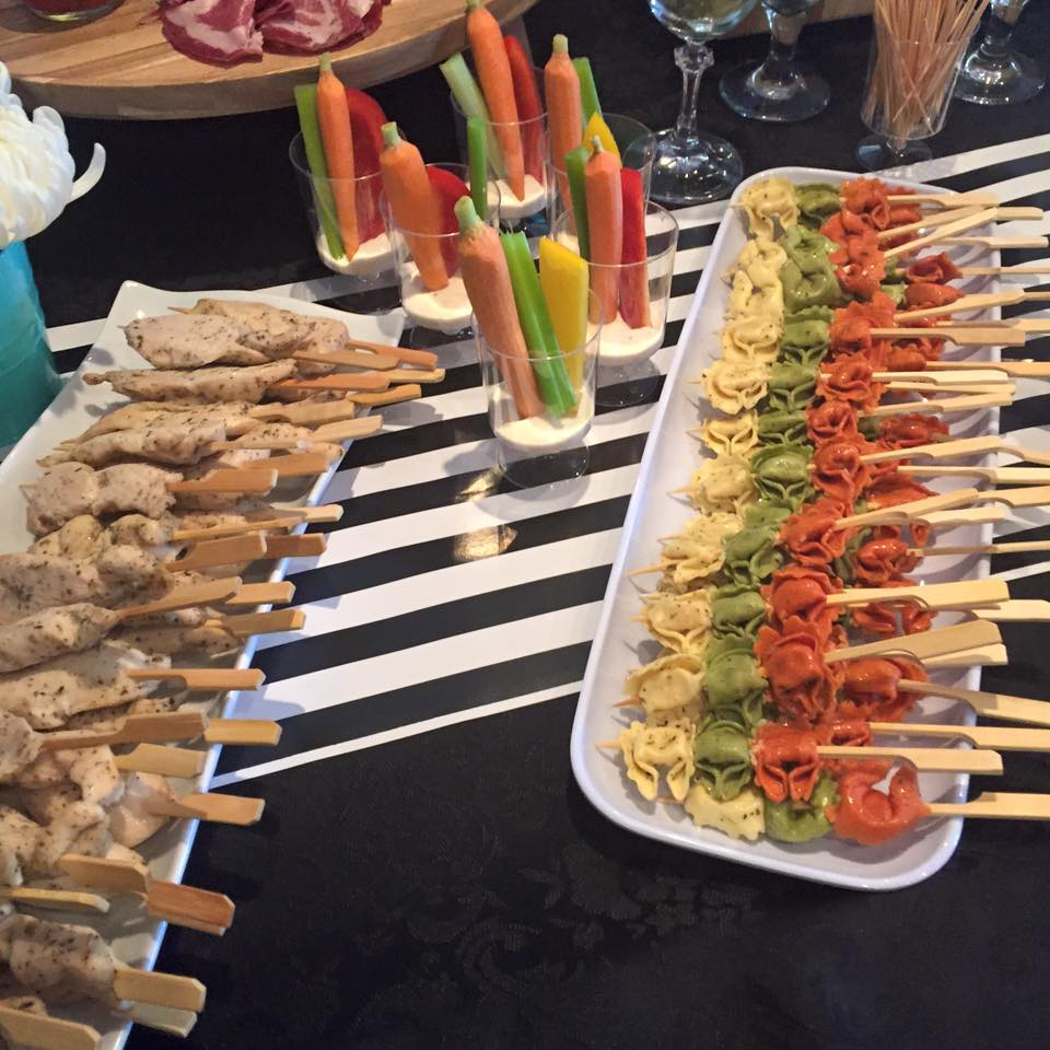 Chicken satay and Tortelini skewers.