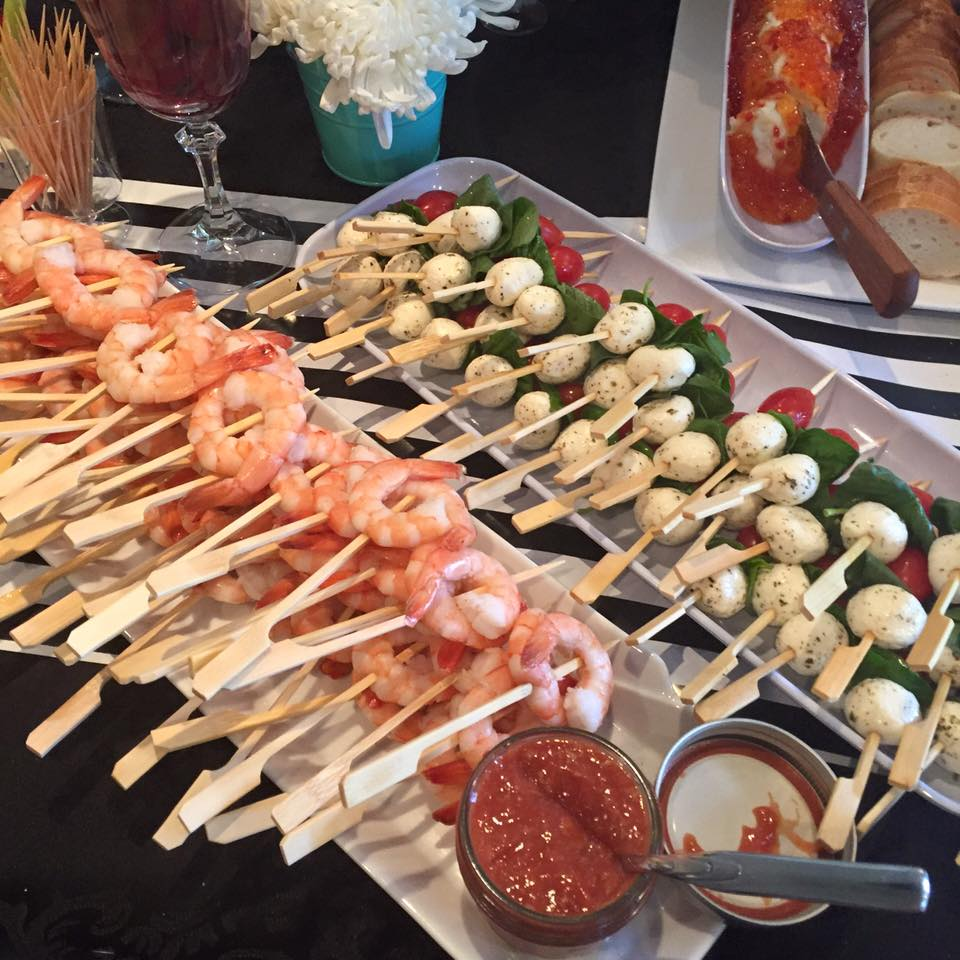 With Shrimp skewers and Caprese salad skewers.